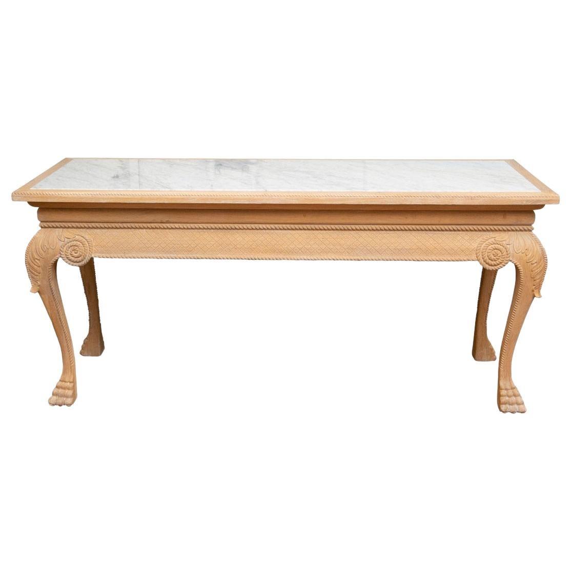 Fine Custom Carved White Oak Neoclassical Style Console