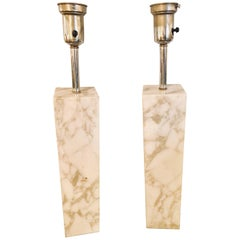 Fine Custom Pair of T. H. Robsjohn-Gibbings Marble Column Form Table Lamps