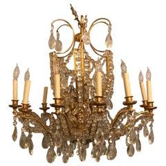 Fine Cut Crystal and Gilt Bronze Neoclassical Jansen Eighteen-Light Chandelier