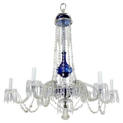 Fine Cut Glass Baltic Chandelier with Blue Glass