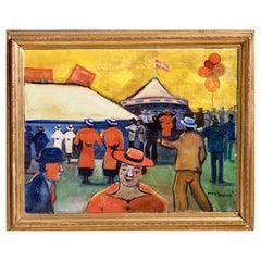 "Fine Danish Circus Painting, Signed ""Jens Sørensen"""