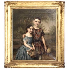 Fine Danish Portrait Painting of a Girl and Boy, 1851