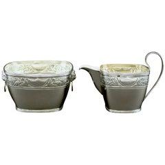 Fine Danish Silver Cream Jug and Sugar Bowl by Simon Groth, Copenhagen, 1890