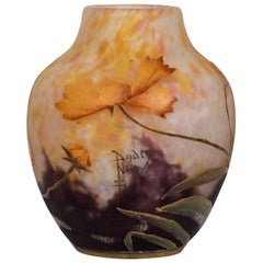 Fine Daum Nancy Cameo and Enamel Glass Vase