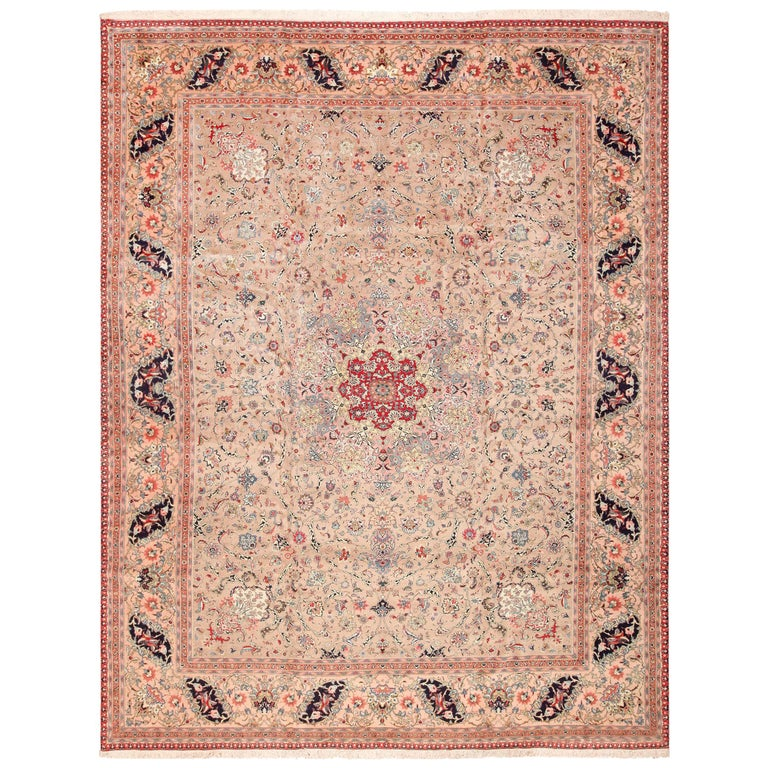 Fine Decorative Large Vintage Persian Tabriz Rug. Size: 12 ft 2 in x 15 ft 9 in For Sale