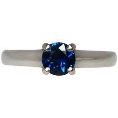 Fine Deep Blue Sapphire Platinum Round Cut Solitaire Ring