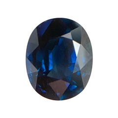 Fine Deep Royal Blue Sapphire 1.55 Carat Oval Cut Loose Gem