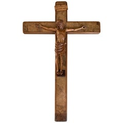 Fine Detailed Early 1900s Carved Burl Walnut Wood Wall Crucifix Corpus of Christ