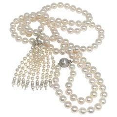 Fine Diamond Akoya Pearl 14 Karat Tassel Necklace Certified