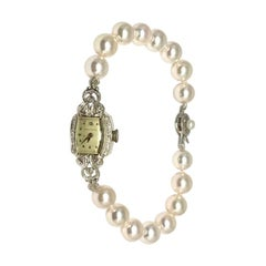 "Diamond Akoya Pearl Waltham Watch 14k Gold 8.5 mm 7.5"" Certified"