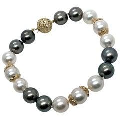 "Diamond Akoya Tahitian Pearl Bracelet 14k Gold 7.5"" Certified"