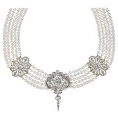 Fine Diamond and Cultured Pearl Necklace