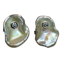 Fine Diamond and FW Pearl 14 Karat .45 Carat Designer Cufflinks Certified