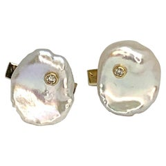 Fine Diamond and FW Pearl 14 Karat Designer Cufflinks Certified
