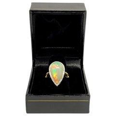 Fine Diamond and Opal 5.75 Carat 14 Karat Ladies Ring Certified