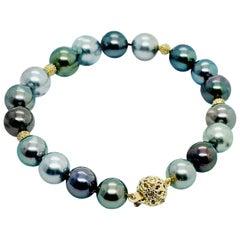 """Diamond Tahitian Pearl Bracelet 9 mm 14k Gold 7.25"""" Certified"""