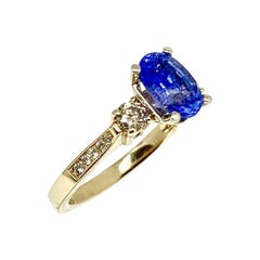 Diamond Blue Sapphire Ring 14k Gold Women Certified