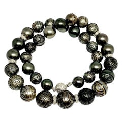 "Diamond Carved Tahitian Pearl Necklace 14.8 mm 17"" Certified"