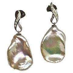 Diamond Large Fresh Water Pearl Earrings Baroque 14k Gold Certified