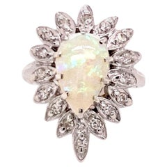 Fine Diamond and Opal 14 Karat 1.65 Carat Ladies Ring Certified