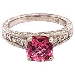Diamond Pink Rubellite Ring 14k Gold 2.45 Tcw Certified