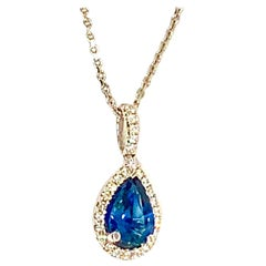Diamond Sapphire Necklace 1.22 TCW 18k Gold Italy Certified