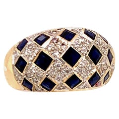 Fine Diamond Sapphire 14 Karat 2.14 Carat Checkerboard Ring Certified
