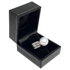 Fine Diamond South Sea Pearl 14 Karat 1.30 Carat Ring Certified