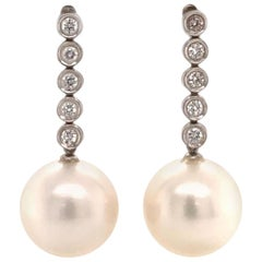 Diamond South Sea Pearl Earrings 14k Gold 14.5 mm Certified