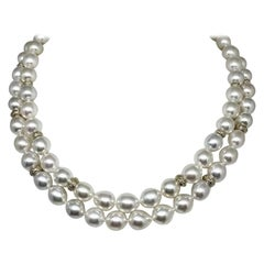 Fine Diamond South Sea Pearl 14 Karat Necklace Certified