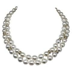 Fine Diamond South Sea Pearl 14 Karat Necklace Certified