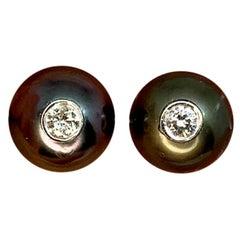 Fine Diamond Tahitian Pearl 11.8 14 Karat Designer Cufflinks Certified