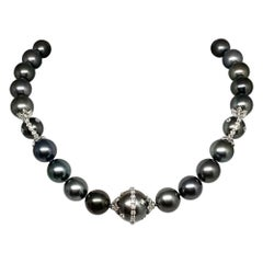 """Diamond Tahitian Pearl Necklace 14k Gold 17.5 mm 17.5"""" Certified"""