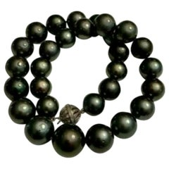 "Diamond Tahitian Pearl Necklace 17.6 mm 16.5"" 14k Gold Certified"