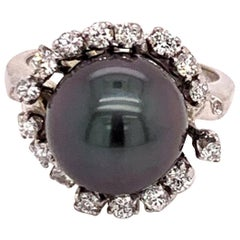 Fine Diamond Tahitian Pearl 14 Karat Ring Certified