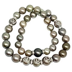 "Diamond Tahitian Pearl Necklace 18k Gold 11.60 mm 16"" Certified"