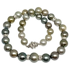 "Diamond Tahitian Pearl Necklace 18k Gold 14.27 mm 17"" Certified"