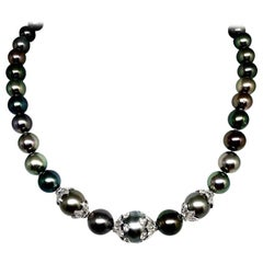 "Diamond Tahitian Pearl Necklace 18k Gold 13.25 mm 17"" Certified"