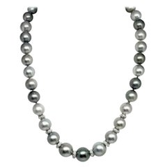 "Diamond Tahitian Pearl Necklace 12.9 mm 18k Gold 17.25"" Certified"