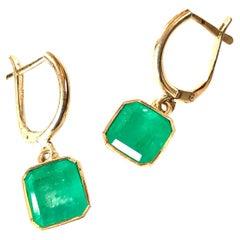 Fine Drop 4.90 Carat Colombian Emerald Earrings 18 Karat