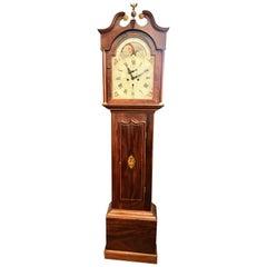 Fine Scottish Inlaid Mahogany Painted Dial Moon Phase Longcase Clock
