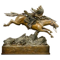 Fine Early 20th Century Bronze of an Indian Chief on Horseback by Carl Kauba