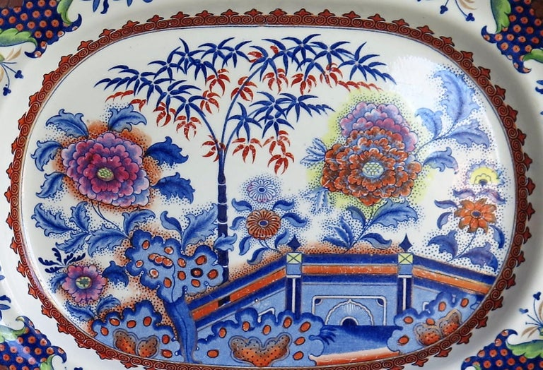 Fine Early Davenport Ironstone Platter, Bamboo and Peony Pattern, circa 1810 For Sale 3