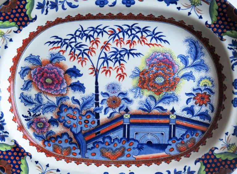 Fine Early Davenport Ironstone Platter, Bamboo and Peony Pattern, circa 1810 For Sale 4