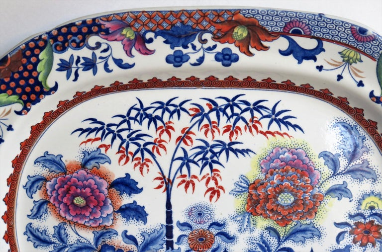 Fine Early Davenport Ironstone Platter, Bamboo and Peony Pattern, circa 1810 For Sale 5