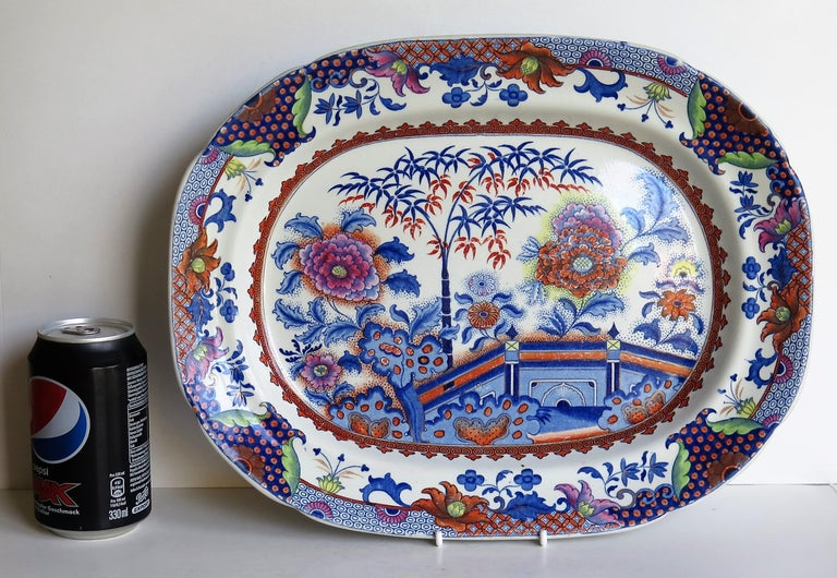 Fine Early Davenport Ironstone Platter, Bamboo and Peony Pattern, circa 1810 For Sale 7