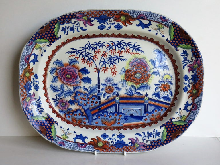 George III Fine Early Davenport Ironstone Platter, Bamboo and Peony Pattern, circa 1810 For Sale