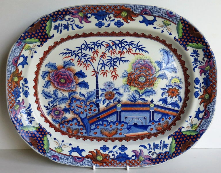 English Fine Early Davenport Ironstone Platter, Bamboo and Peony Pattern, circa 1810 For Sale