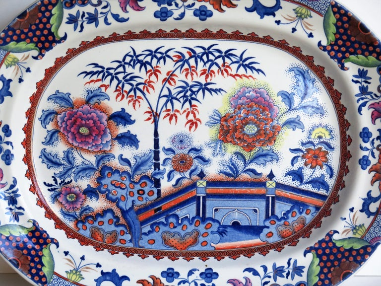Hand-Painted Fine Early Davenport Ironstone Platter, Bamboo and Peony Pattern, circa 1810 For Sale