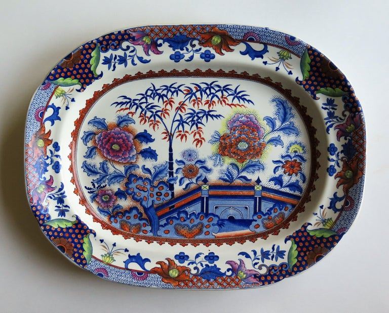 19th Century Fine Early Davenport Ironstone Platter, Bamboo and Peony Pattern, circa 1810 For Sale